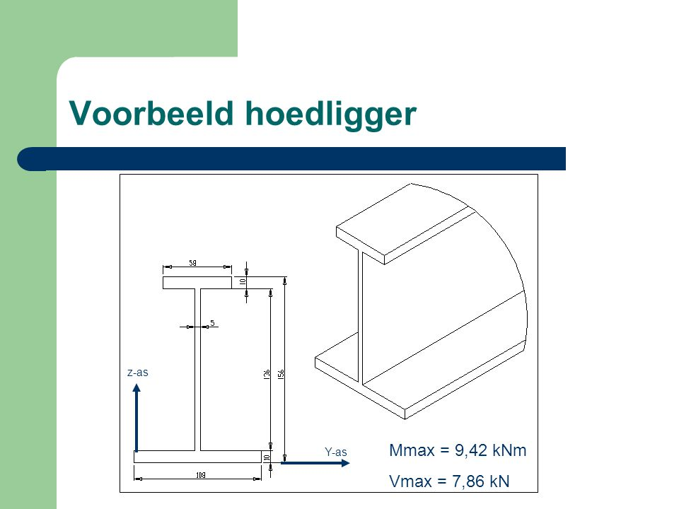 Voorbeeld hoedligger z-as Mmax = 9,42 kNm Vmax = 7,86 kN Y-as