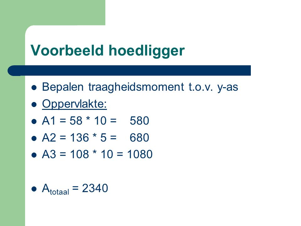 Voorbeeld hoedligger Bepalen traagheidsmoment t.o.v. y-as Oppervlakte: