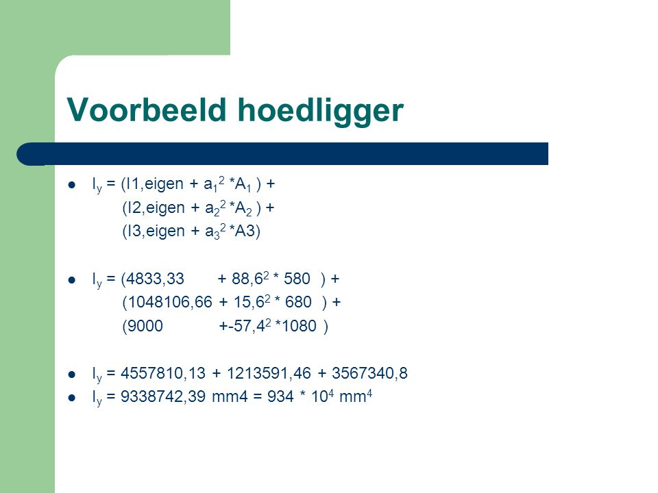 Voorbeeld hoedligger Iy = (I1,eigen + a12 *A1 ) +