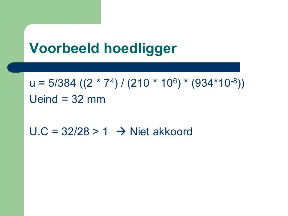 Voorbeeld hoedligger u = 5/384 ((2 * 74) / (210 * 106) * (934*10-8))