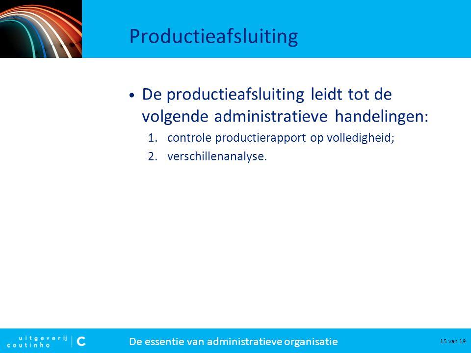 Productieafsluiting De productieafsluiting leidt tot de