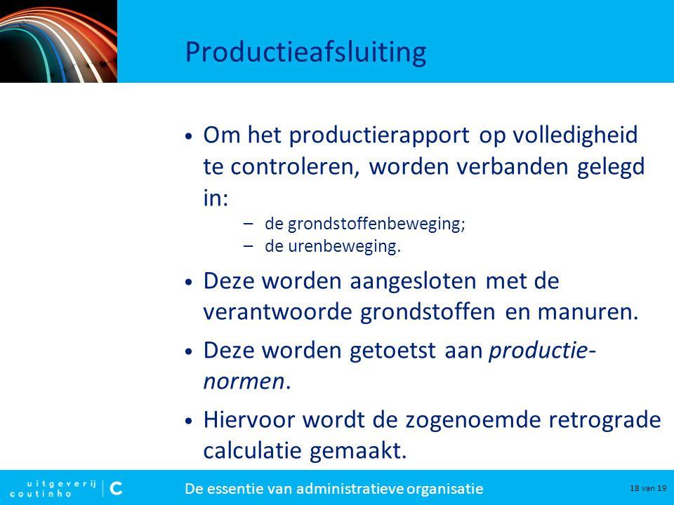 Productieafsluiting Om het productierapport op volledigheid