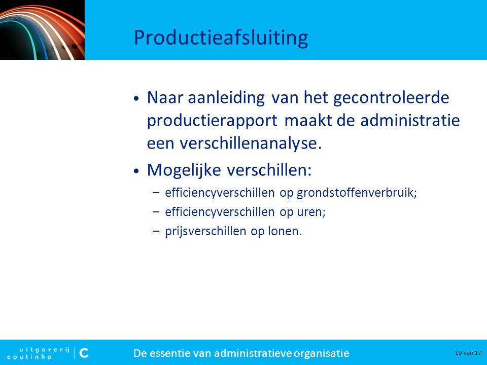 Productieafsluiting Naar aanleiding van het gecontroleerde