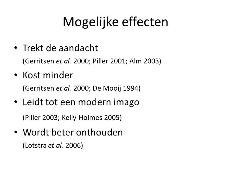 Mogelijke effecten (Piller 2003; Kelly-Holmes 2005) Trekt de aandacht