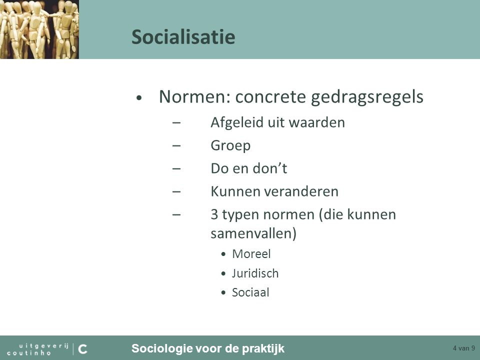 Socialisatie Normen: concrete gedragsregels Afgeleid uit waarden Groep