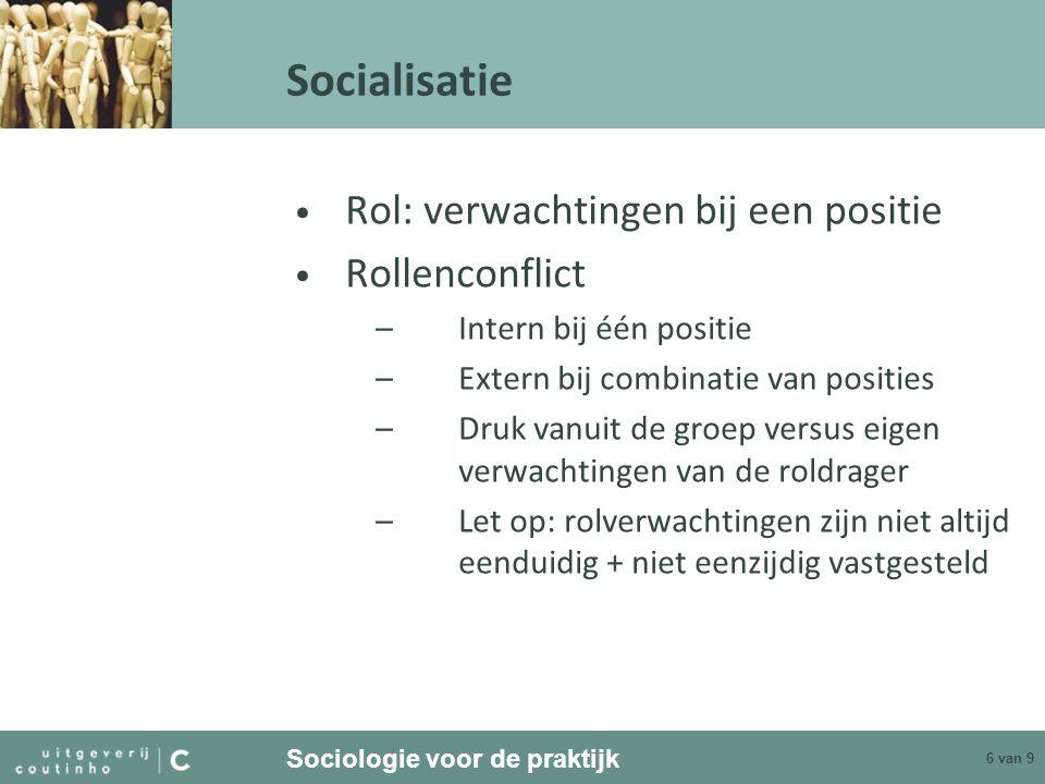 Socialisatie Rol: verwachtingen bij een positie Rollenconflict