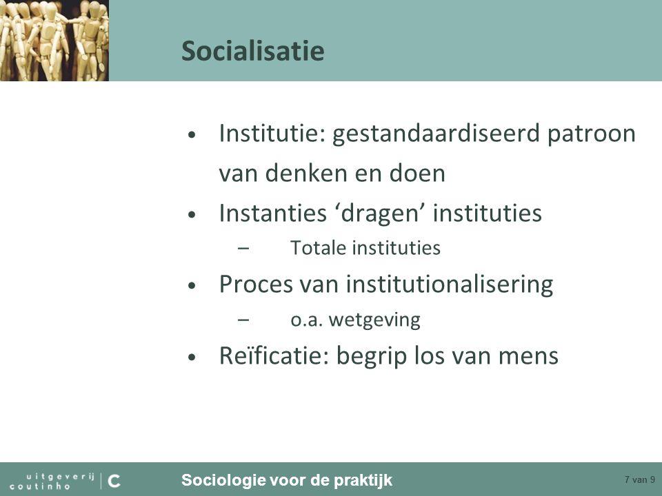 Socialisatie Institutie: gestandaardiseerd patroon van denken en doen