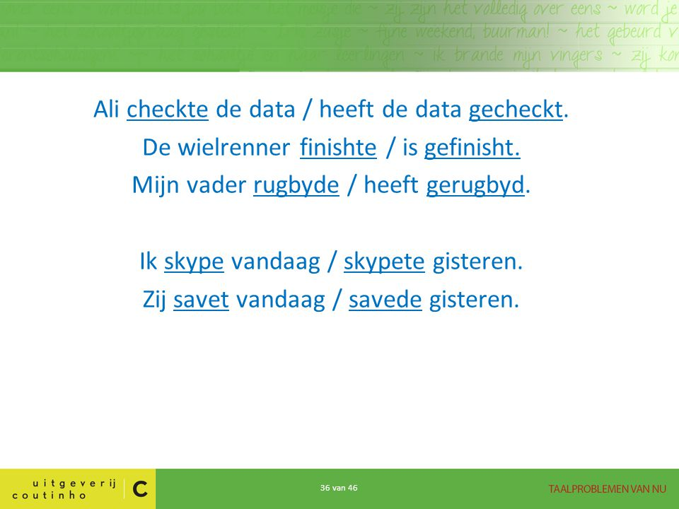 Ali checkte de data / heeft de data gecheckt