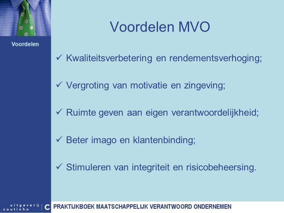 Voordelen MVO Kwaliteitsverbetering en rendementsverhoging;