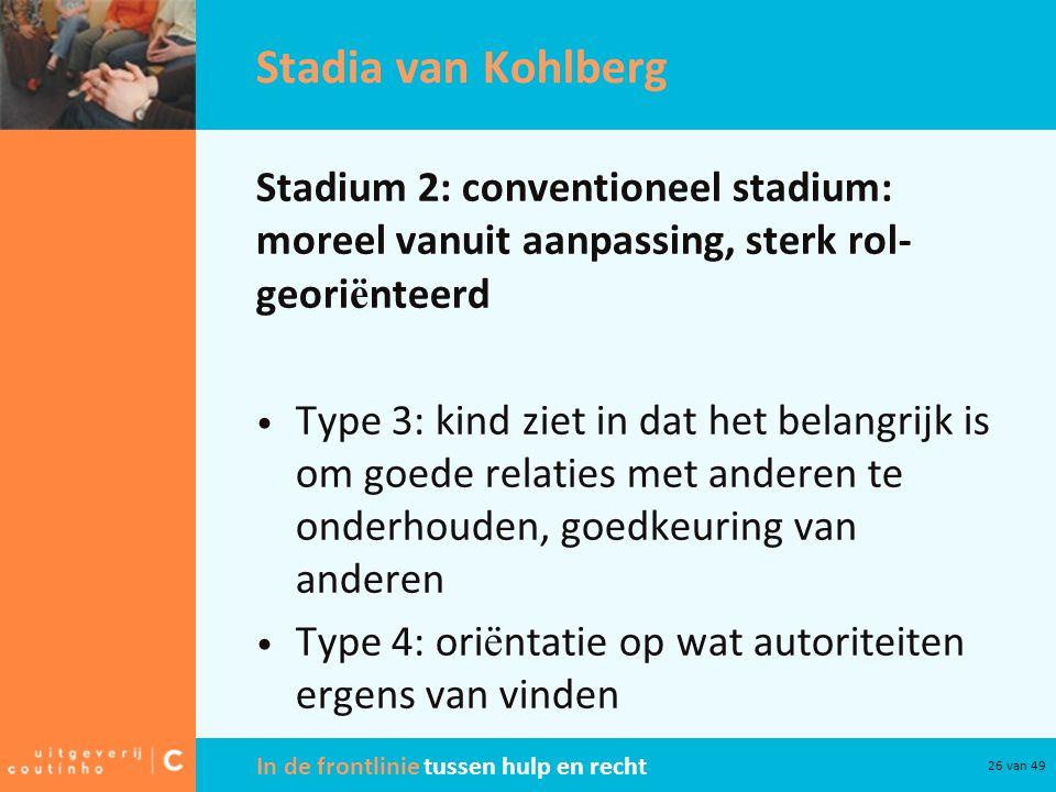 Stadia van Kohlberg Stadium 2: conventioneel stadium: moreel vanuit aanpassing, sterk rol-georiënteerd.