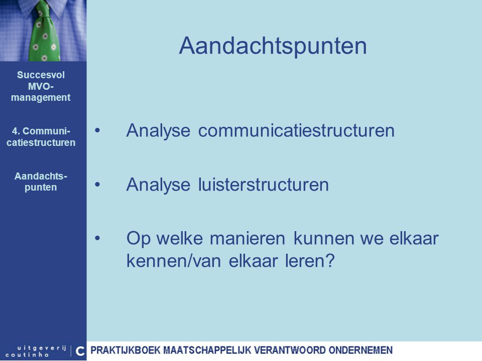 Succesvol MVO-management 4. Communi-catiestructuren