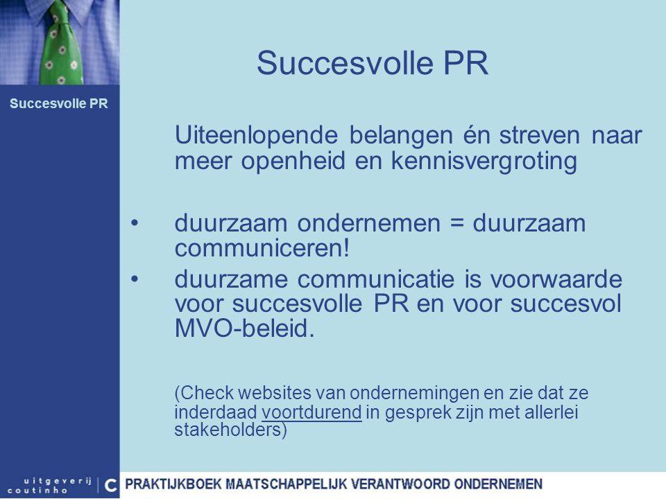 Succesvolle PR Succesvolle PR. Uiteenlopende belangen én streven naar meer openheid en kennisvergroting.