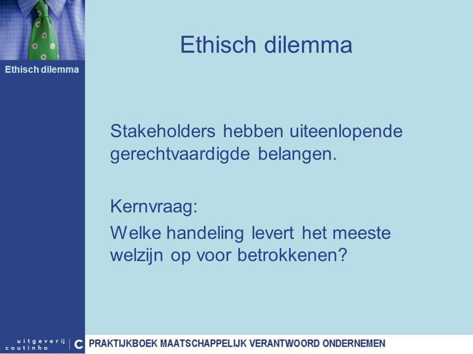 Ethisch dilemma Ethisch dilemma. Stakeholders hebben uiteenlopende gerechtvaardigde belangen. Kernvraag: