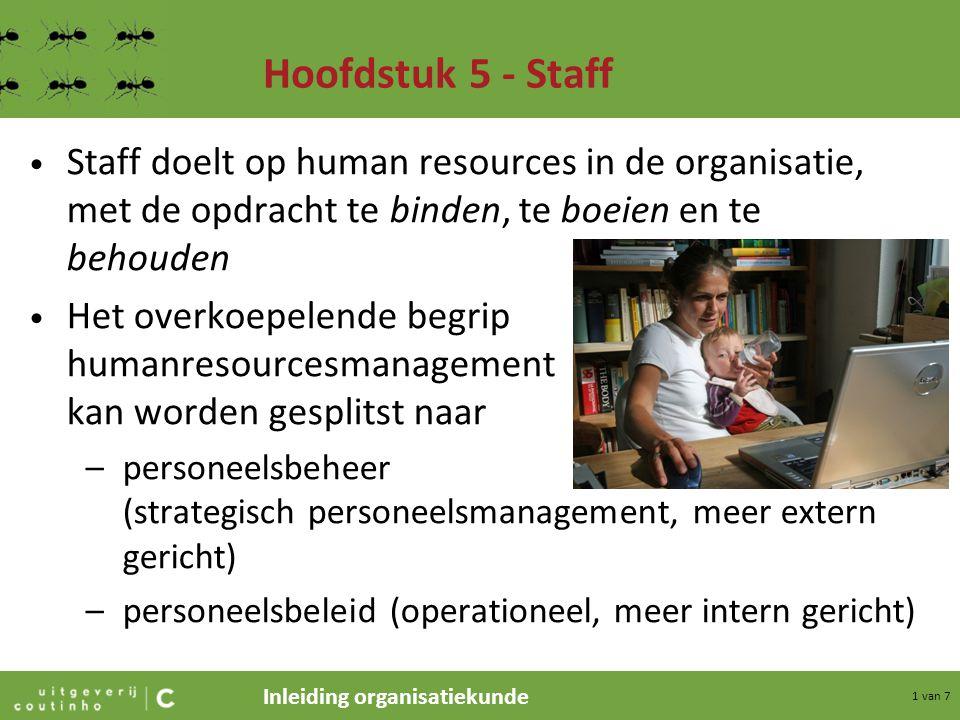 Hoofdstuk 5 - Staff Staff doelt op human resources in de organisatie, met de opdracht te binden, te boeien en te behouden.