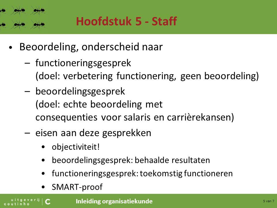 Hoofdstuk 5 - Staff Beoordeling, onderscheid naar
