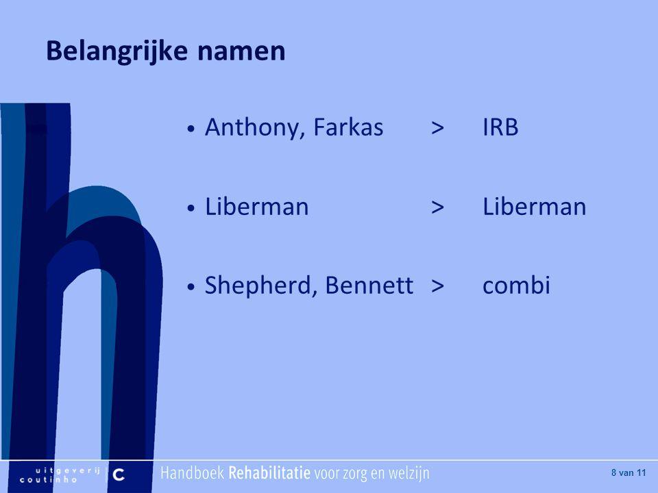 Belangrijke namen Anthony, Farkas > IRB Liberman > Liberman