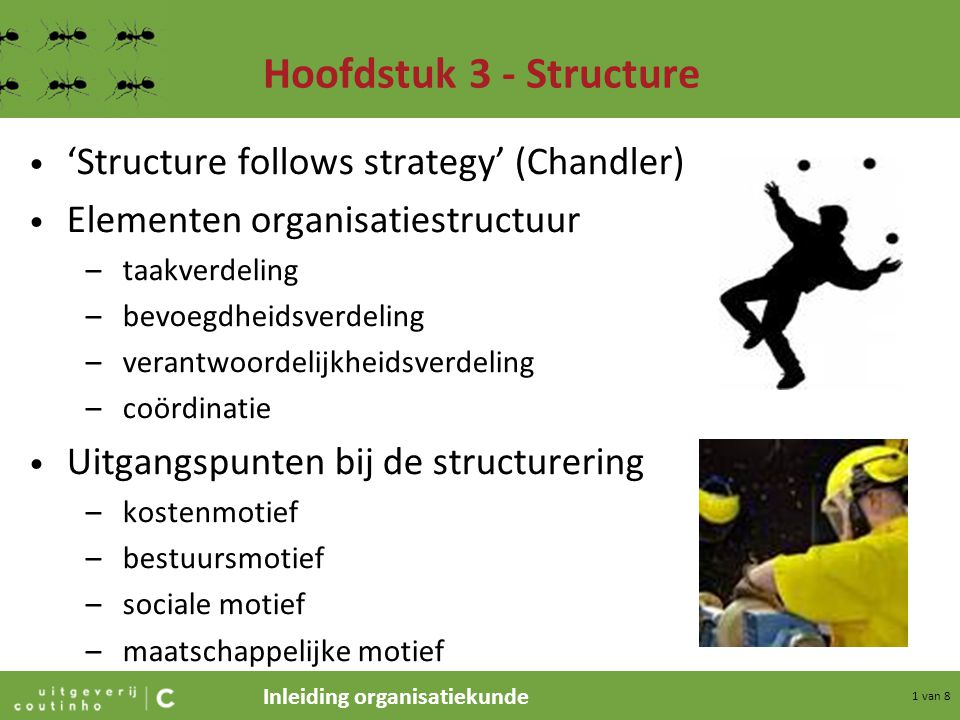 Hoofdstuk 3 - Structure 'Structure follows strategy' (Chandler)