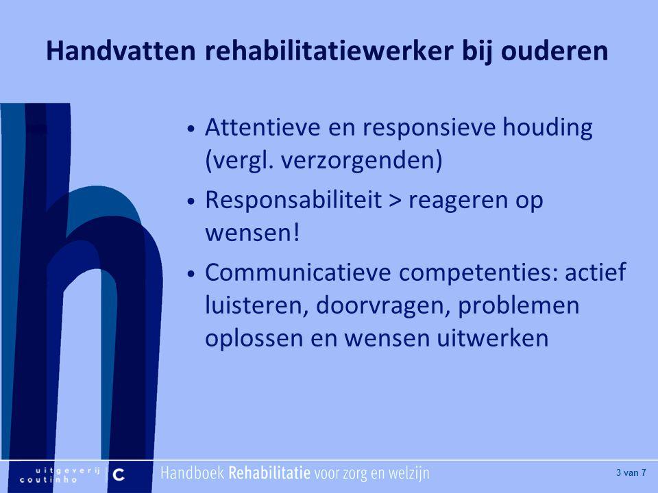 Handvatten rehabilitatiewerker bij ouderen