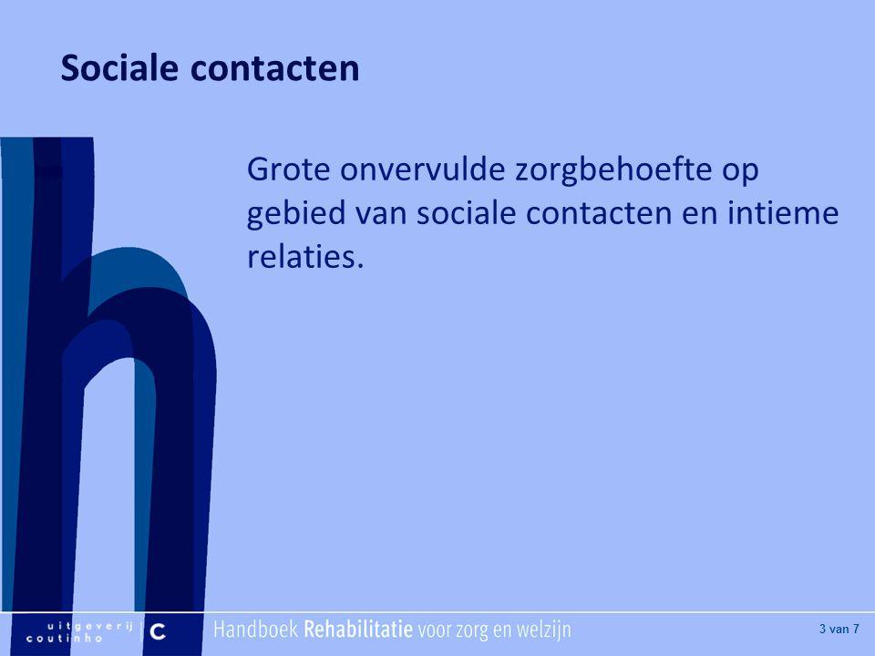 Sociale contacten Grote onvervulde zorgbehoefte op gebied van sociale contacten en intieme relaties.