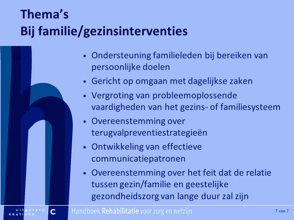 Thema's Bij familie/gezinsinterventies