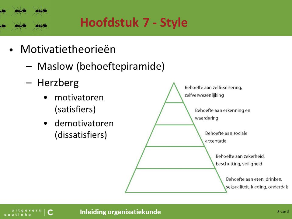 Hoofdstuk 7 - Style Motivatietheorieën Maslow (behoeftepiramide)