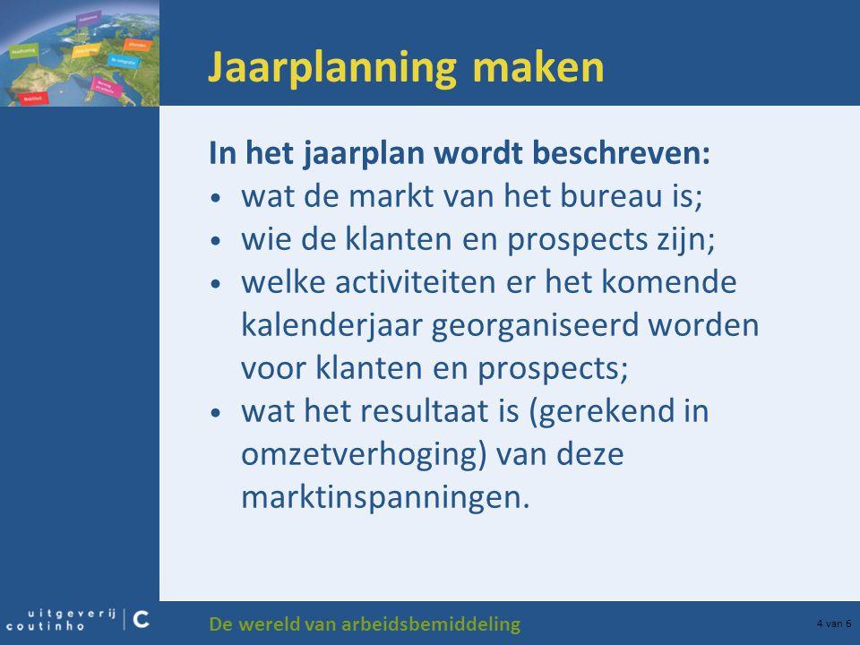 Jaarplanning maken In het jaarplan wordt beschreven: