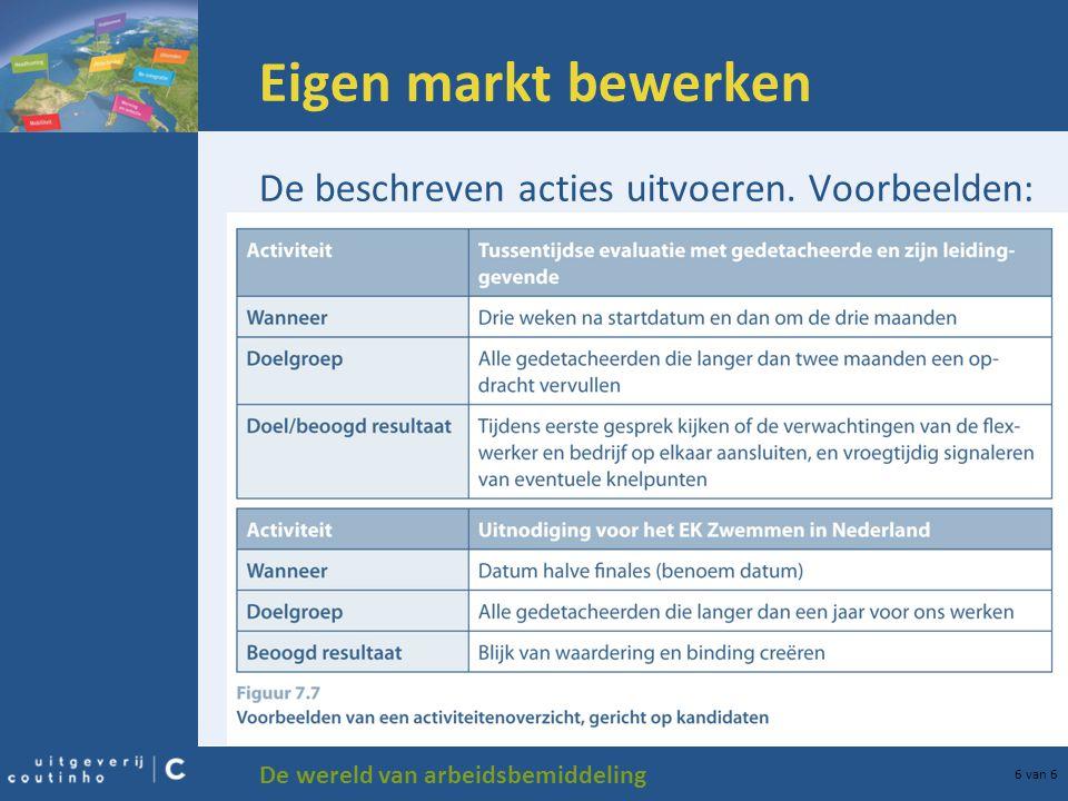 Eigen markt bewerken De beschreven acties uitvoeren. Voorbeelden: