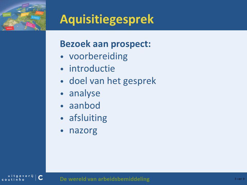 Aquisitiegesprek Bezoek aan prospect: voorbereiding introductie