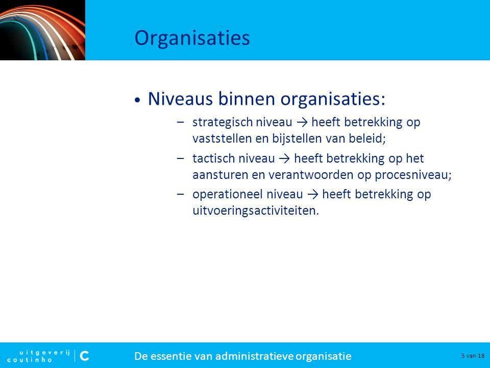 Organisaties Niveaus binnen organisaties: