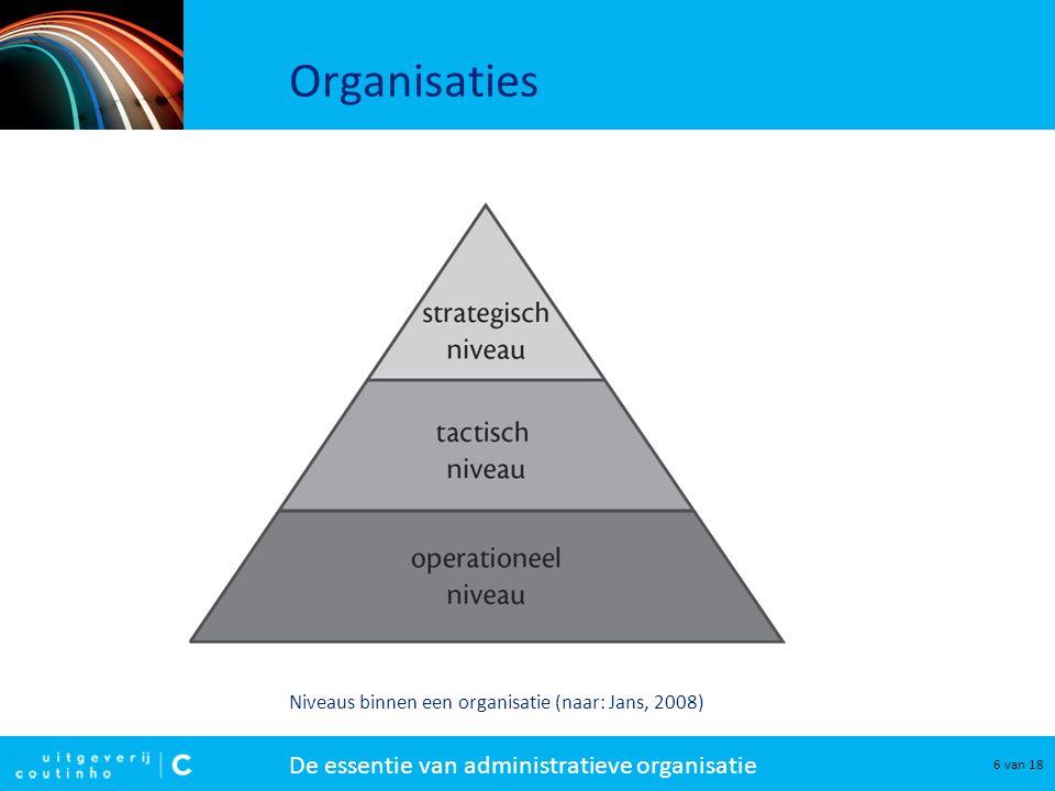Organisaties Niveaus binnen een organisatie (naar: Jans, 2008)