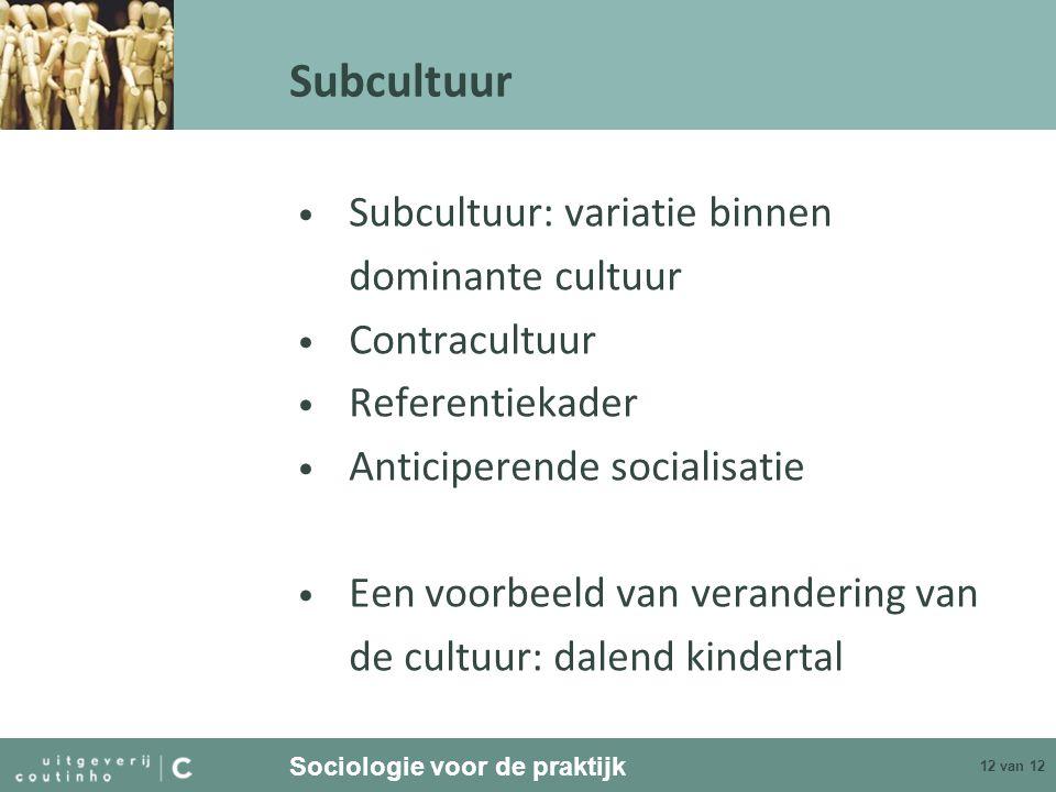 Subcultuur Subcultuur: variatie binnen dominante cultuur Contracultuur