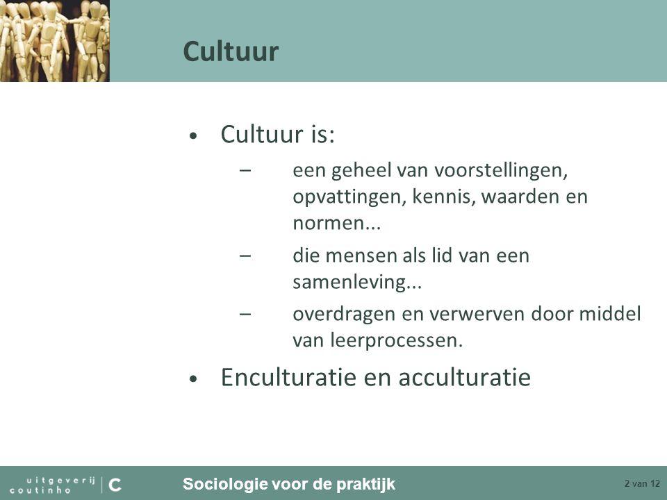Cultuur Cultuur is: Enculturatie en acculturatie