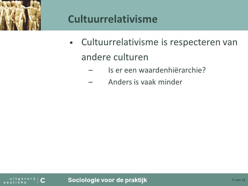 Cultuurrelativisme Cultuurrelativisme is respecteren van