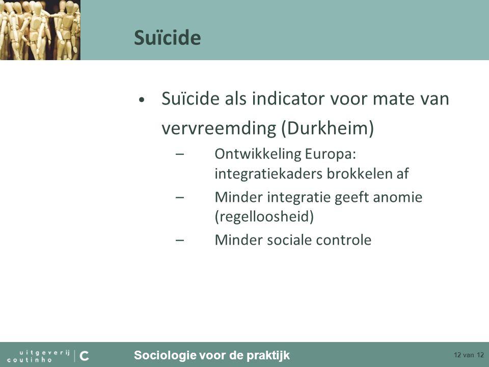 Suïcide Suïcide als indicator voor mate van vervreemding (Durkheim)