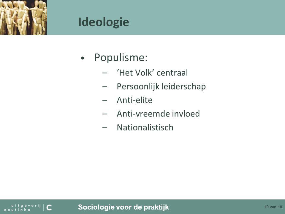 Ideologie Populisme: 'Het Volk' centraal Persoonlijk leiderschap