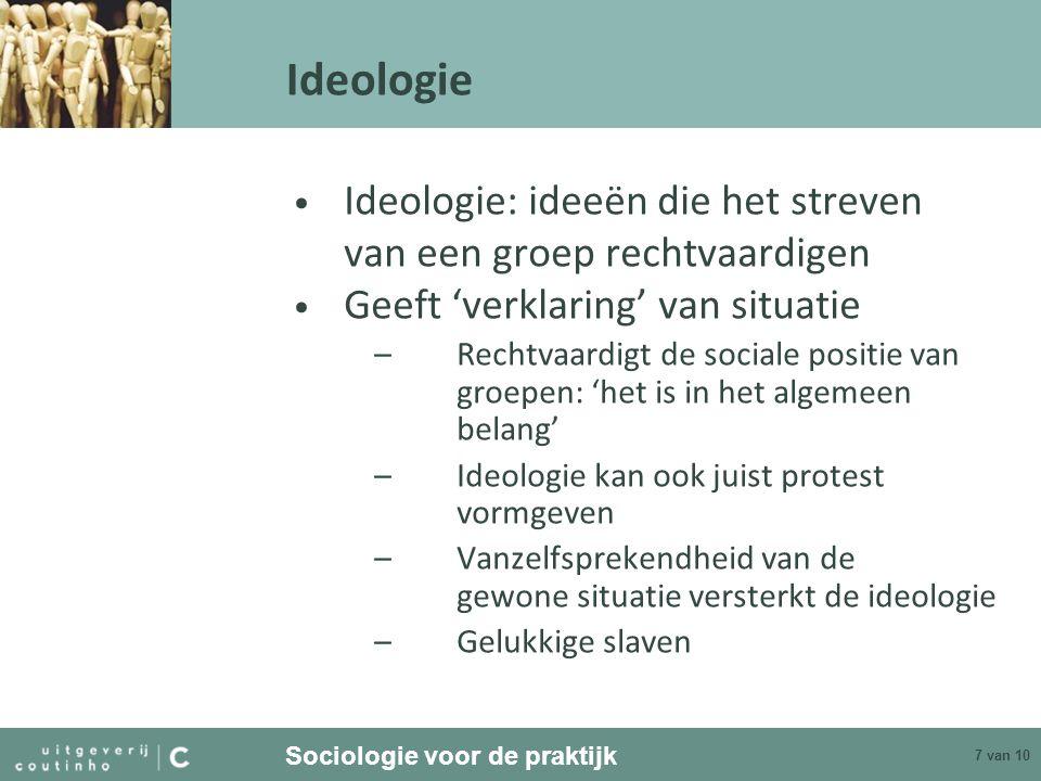 Ideologie Ideologie: ideeën die het streven