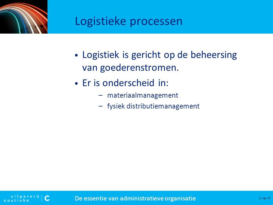 Logistieke processen Logistiek is gericht op de beheersing