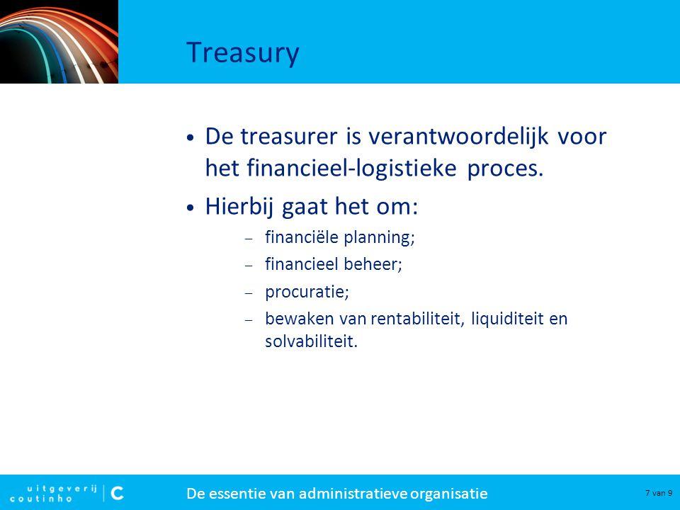 Treasury De treasurer is verantwoordelijk voor
