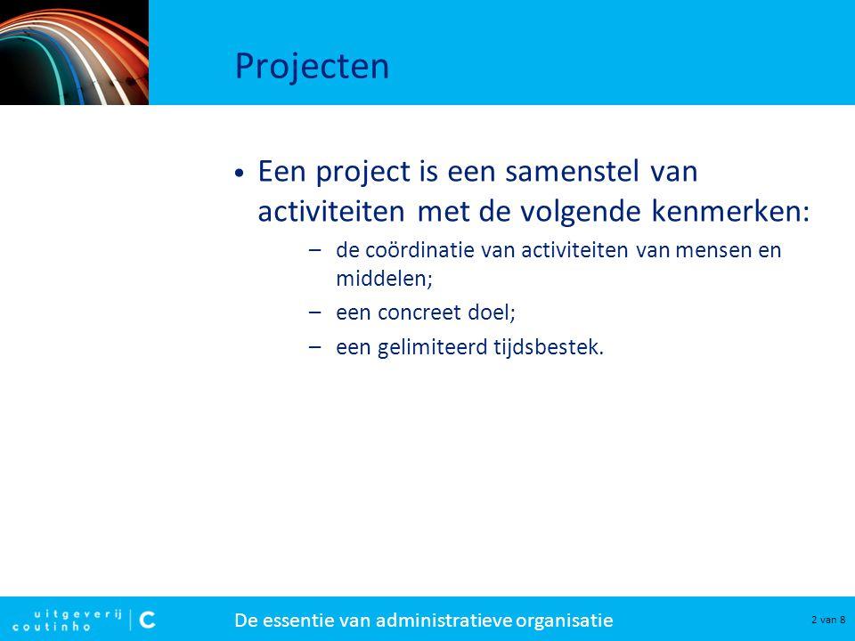Projecten Een project is een samenstel van