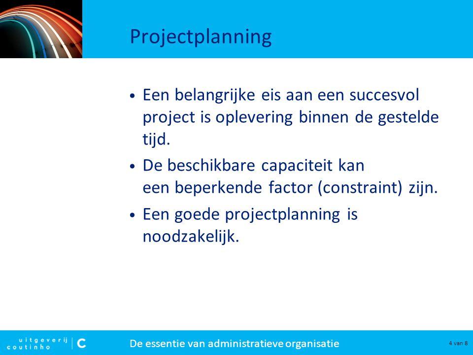 Projectplanning Een belangrijke eis aan een succesvol