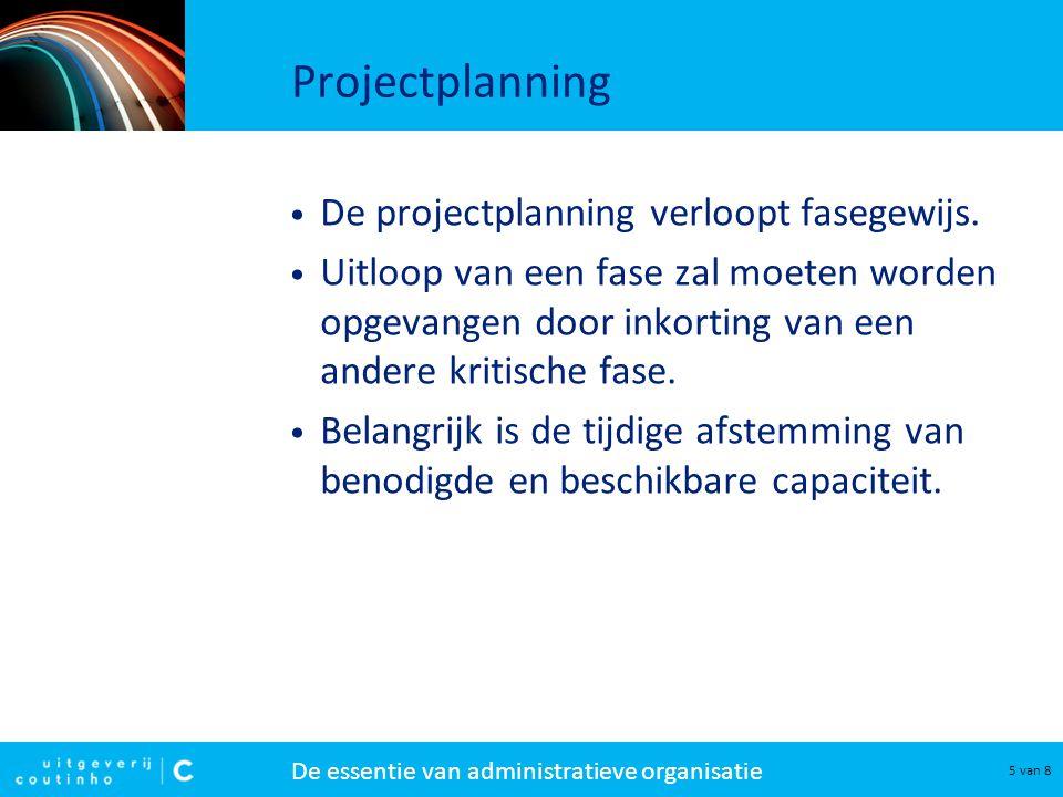 Projectplanning De projectplanning verloopt fasegewijs.