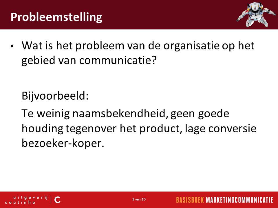 Probleemstelling Wat is het probleem van de organisatie op het gebied van communicatie Bijvoorbeeld: