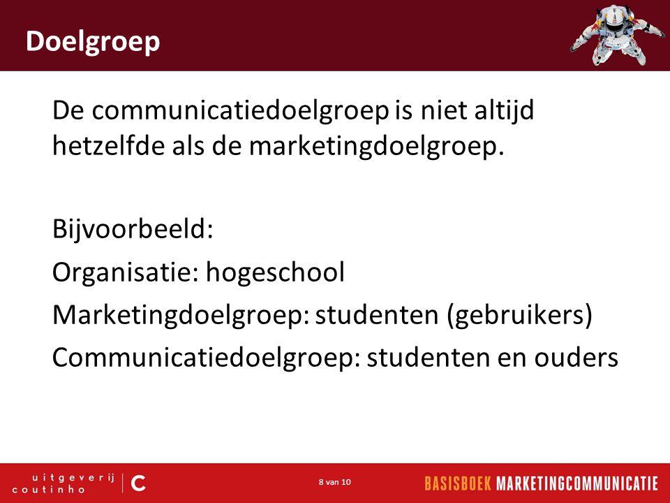 Doelgroep De communicatiedoelgroep is niet altijd hetzelfde als de marketingdoelgroep. Bijvoorbeeld: