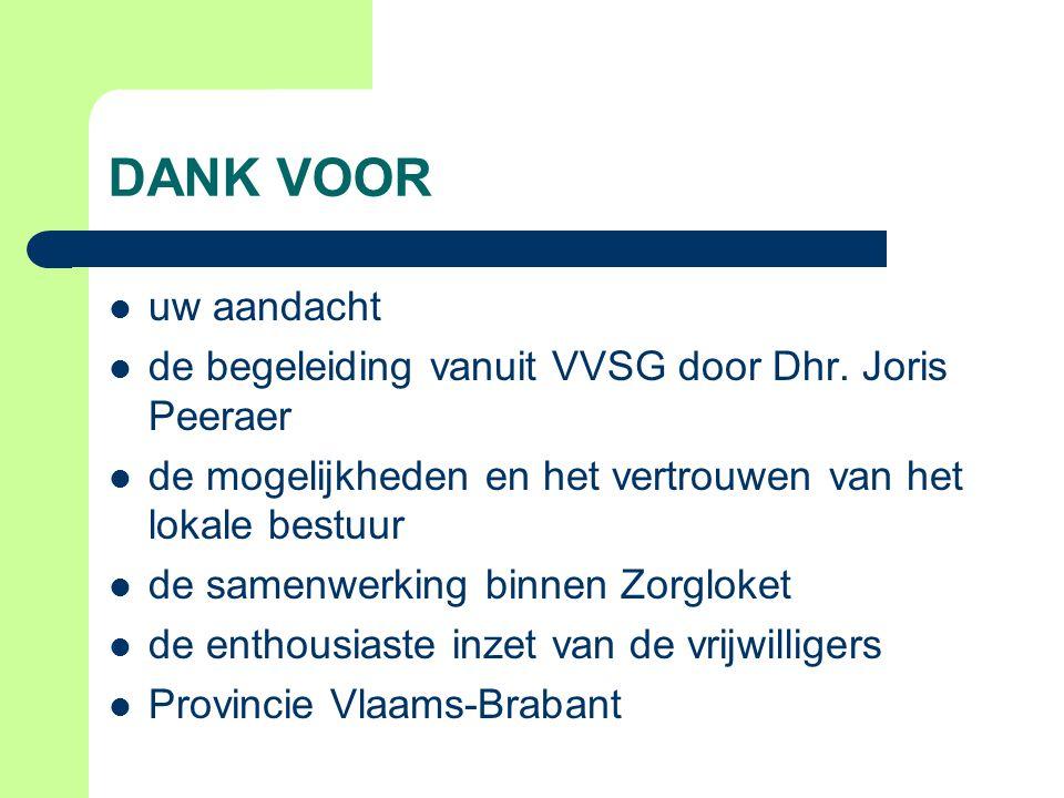 DANK VOOR uw aandacht. de begeleiding vanuit VVSG door Dhr. Joris Peeraer. de mogelijkheden en het vertrouwen van het lokale bestuur.