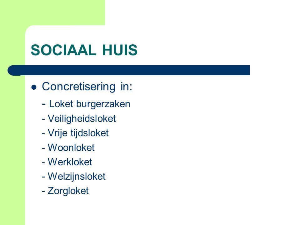 SOCIAAL HUIS Concretisering in: - Loket burgerzaken - Veiligheidsloket