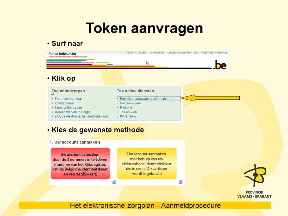 Token aanvragen Surf naar Klik op Kies de gewenste methode 5