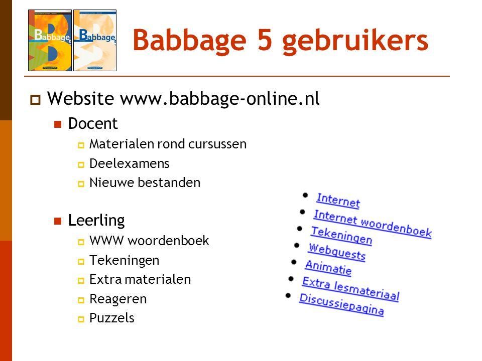 Babbage 5 gebruikers Website www.babbage-online.nl Docent Leerling