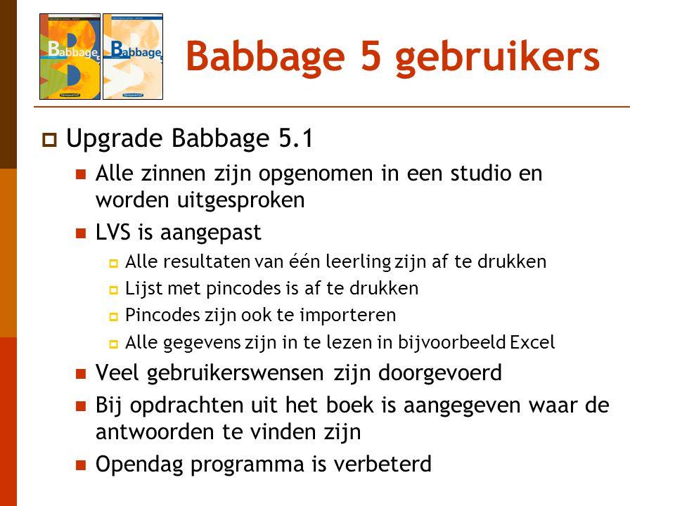 Babbage 5 gebruikers Upgrade Babbage 5.1