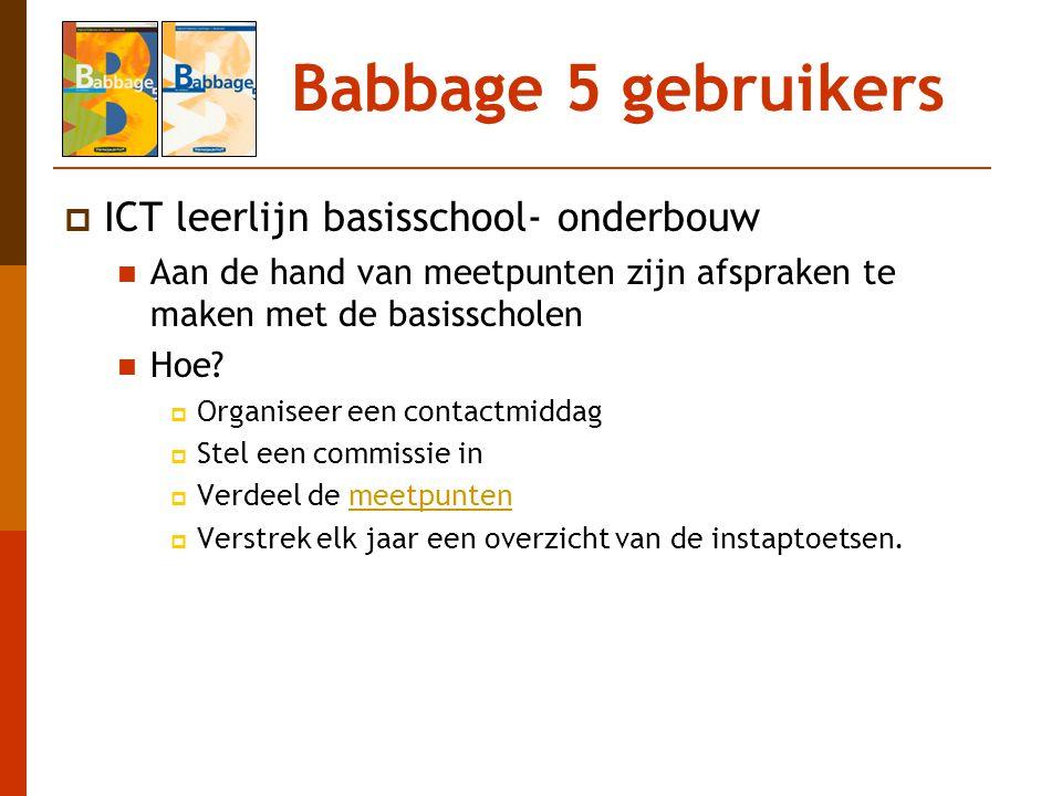 Babbage 5 gebruikers ICT leerlijn basisschool- onderbouw