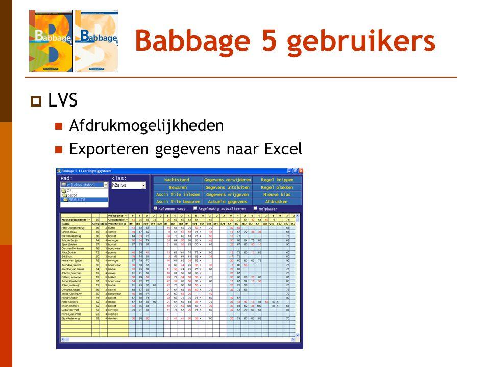 Babbage 5 gebruikers LVS Afdrukmogelijkheden